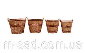Набор корзин плетеных  из 4 шт с ручками, фото 3