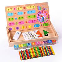 Деревянная магнитная обучающая игра для детей Математика доска для рисования и раннего развития танграм