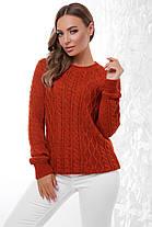 Женский стильный однотонный свитер фактурная вязка цвет, фото 3