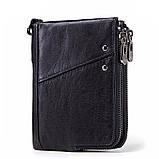 Мужской кошелек из натуральной кожи. Кожаный кошелек мужской портмоне из кожи Черный, фото 2