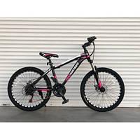 Одноподвесной горный велосипед 26 дюймов 17 рама черно-розовый  Top Rider  плюс подарок Шимано 611 модель, фото 1