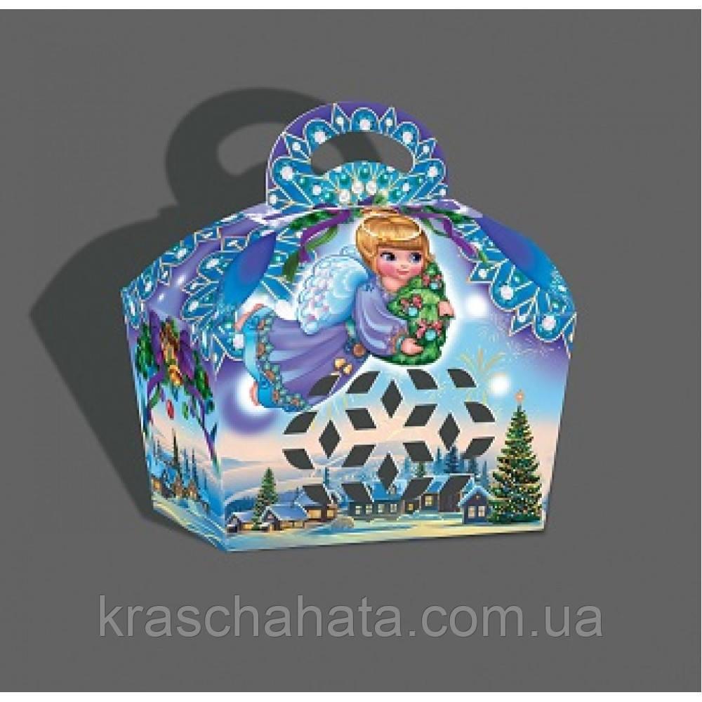 Новогодняя коробка, Сундук с ручкой, 500 гр, Картонная упаковка для конфет