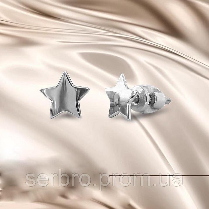 Серебряные сережки гвоздики  Звездочки