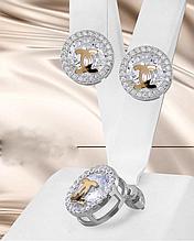 Срібні сережки гвоздики з золотом Шанель