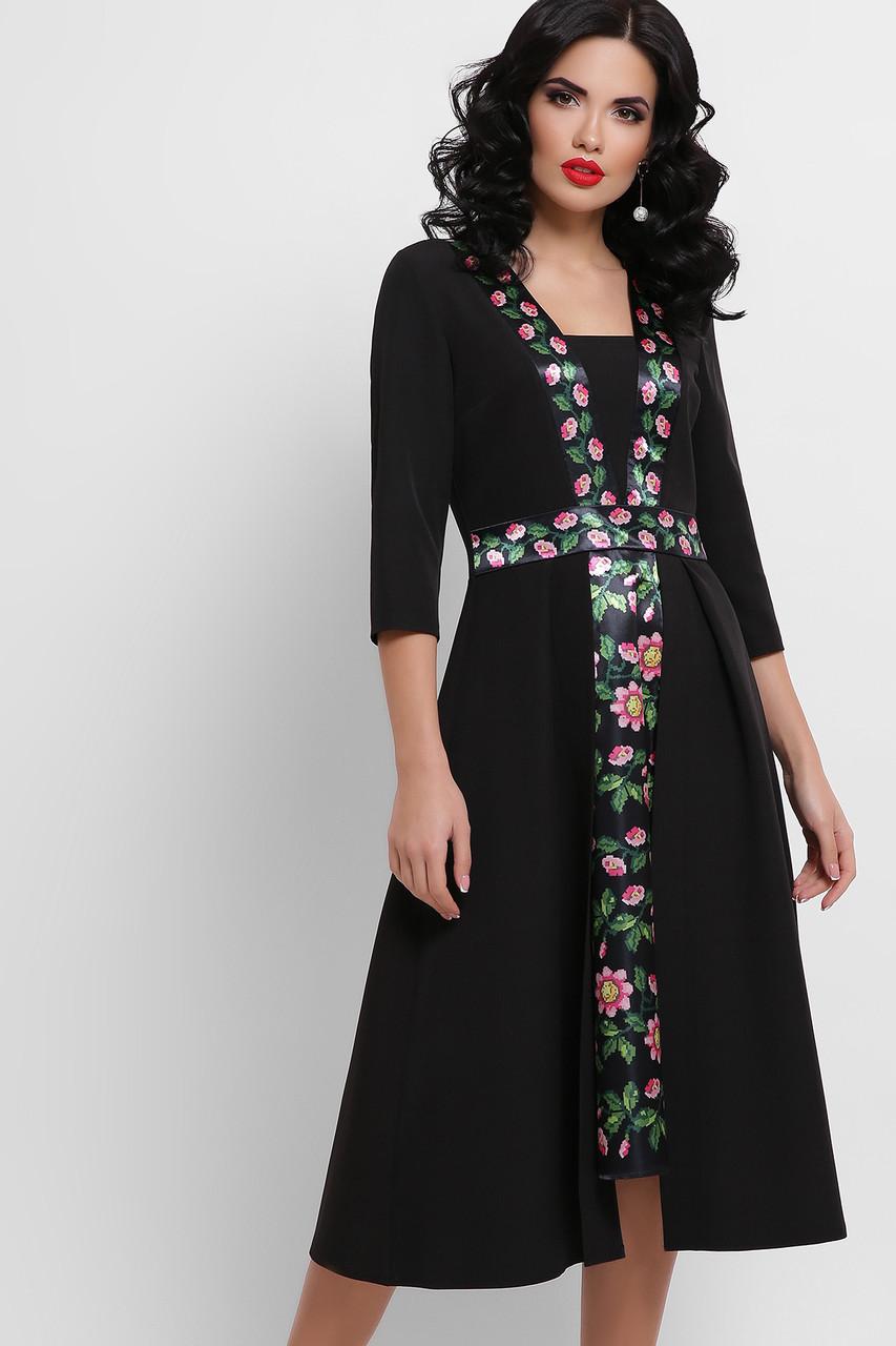 Платье приталенное черное с цветами Вилора П