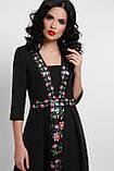 Платье приталенное черное с цветами Вилора П, фото 3