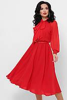 Платье шифоновое с бантом красное Аля