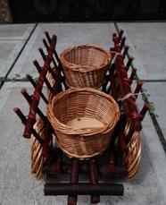 Телега декор для сада . Декоративная телега плетеная из лозы, фото 2