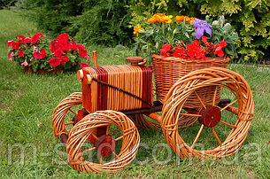 Кашпо для сада (трактор плетеный из лозы), длина 50 см, фото 2