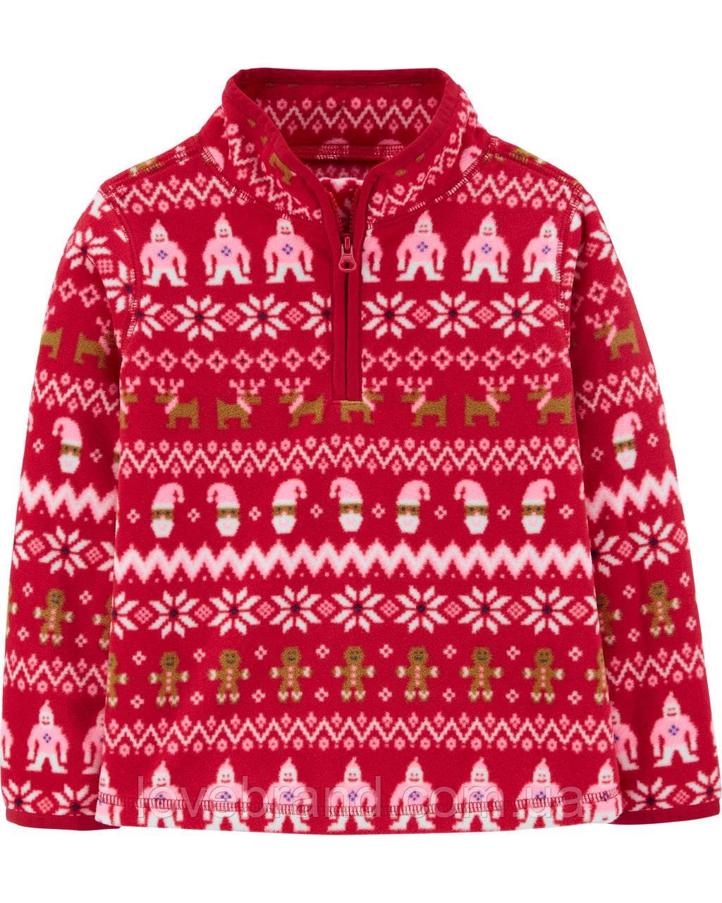"""Теплая флисовая кофта OshKosh для девочки """"Новогодняя"""" красная"""