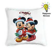 "Новогодняя подушка  ""Микки и Мини Маус"""