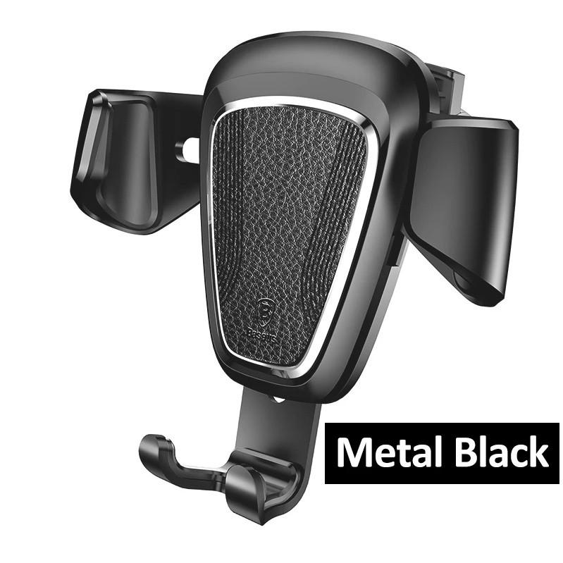 Baseus Gravity Car Mount Metal Leather SUYL-B01 универсальный автомобильный держатель смартфона Black