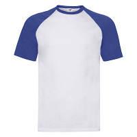 Летняя мужская футболка «Бейсбол» белая с ярко-синими рукавами - S,L,XL,2XL,3XL