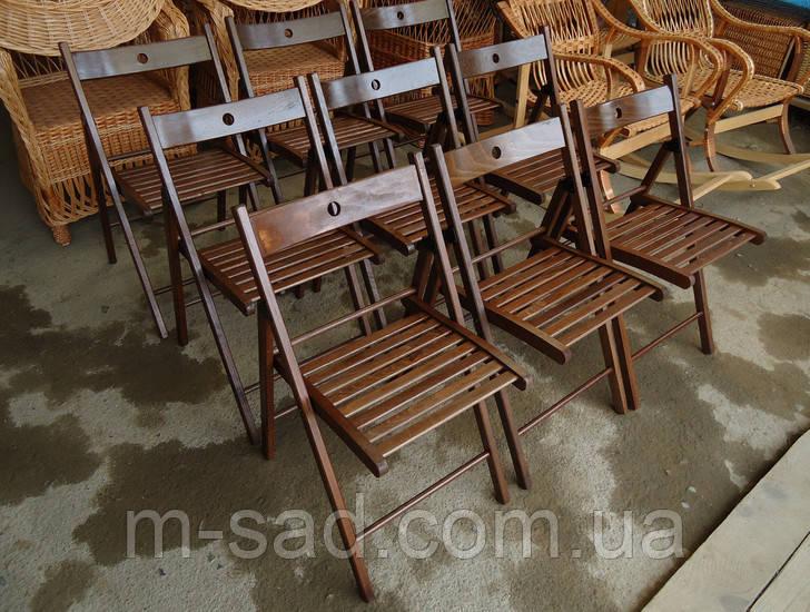 Складной стул со спинкой туристический, для пикника, дачи (деревянный)