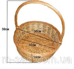 Подарочная корзина из лозы плетеная диаметр 38см для корпоративных подарков, фото 2