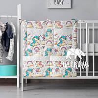 Органайзер для детской кроватки Warmo™ БЕЛЫЕ ЕДИНОРОГИ