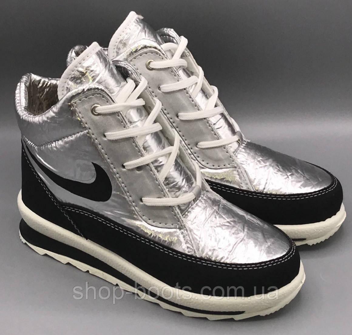 Женские ботинки гофра. 37-41 рр. Модель Гофра 117-3 серебро
