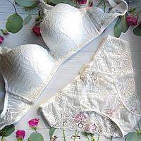 Комплект нижнего белья женский, без костей, weiysi ,размер 100Д,  белый