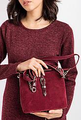 Кожаная сумочка бордового цвета с пряжкой и цепочкой