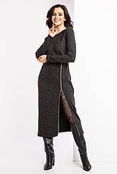 Трикотажное теплое платье ADIN серого цвета с начесом и разрезом