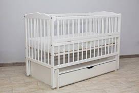 """Детская кроватка для новорожденных Веселка ТМ """"Дубок"""" маятник, ящик, откидной бок"""