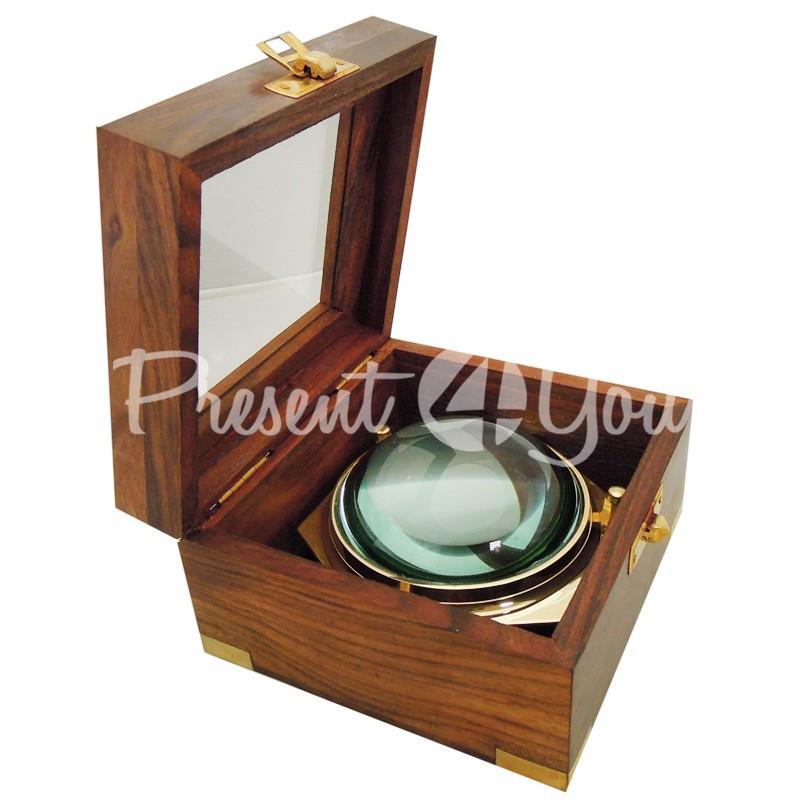 Морской сувенир лупа в деревянной шкатулке Sea Club, d-10 см.,12x11,5x7 см.