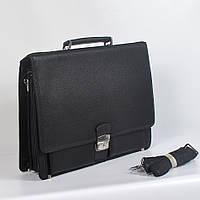Мужская деловая кожанная сумка с ручками (портмоне) - Код Р6806 - (черная)