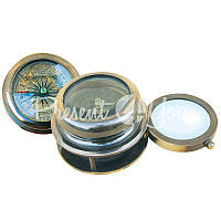 Морской сувенир компас с откидной лупой Sea Club, h-4,5 см., d-7/4,2 см.