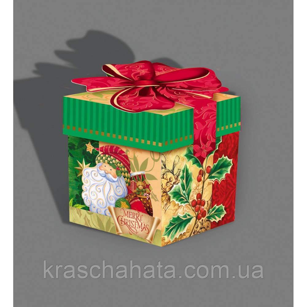 Картонная подарочная упаковка, Новогодний кубик, Merry Cristmas, 300 грамм