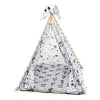 """Вигвам, детская игровая палатка с ковриком и подушками. Расцветка """"Медведи Silver"""""""