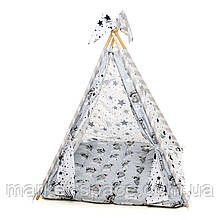"""Вигвам, детская игровая палатка с матрасом и подушками. Расцветка """"Медведи Silver"""""""