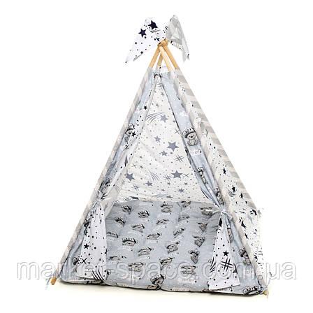 """Вигвам, детская игровая палатка с матрасом и подушками. Расцветка """"Медведи Silver"""", фото 2"""