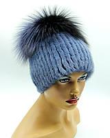 """Женская меховая шапка из норки на вязаной основе """"Малибу"""" (ирис)."""