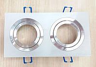 Встраиваемый светильник Feron DL6122 квадратный поворотный (на две лампы) белый