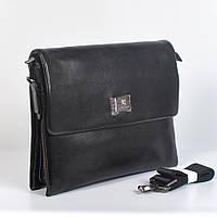 Мужская деловая кожанная сумка с ручками (портмоне) - Код 9893-6 - (черная)