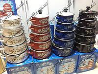 Набор эмалированных кастрюль с стеклянными крышками из 5 шт