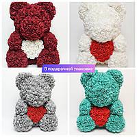 Мишка из роз в подарочной упаковке большой 40см Эксклюзив Ароматизирован