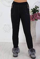 Жіночі теплі трикотажні штани на хутрі розміри 48-56