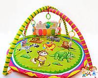 Развивающий детский игровой коврик, с подвесками, звуковыми эффектами, 2 дуги
