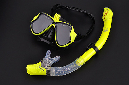 Комплект маска для дайвинга с креплением для GoPro, Xiaomi, SJCAM + Трубка для плавания