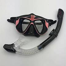 Комплект маска для дайвинга с креплением для GoPro, Xiaomi, SJCAM + Трубка для плавания, фото 3