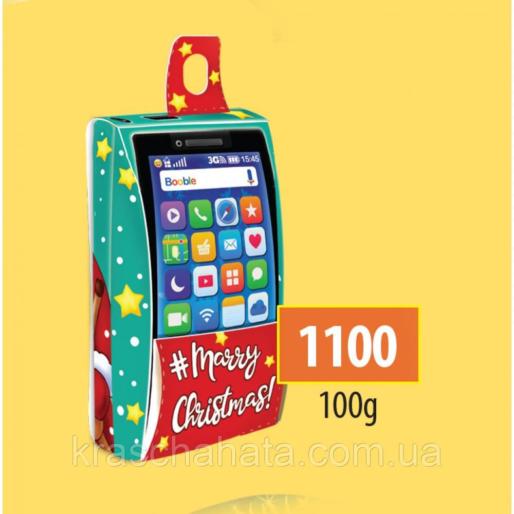 Новогодняя коробка, Телефон, 100 гр, Картонная упаковка для конфет