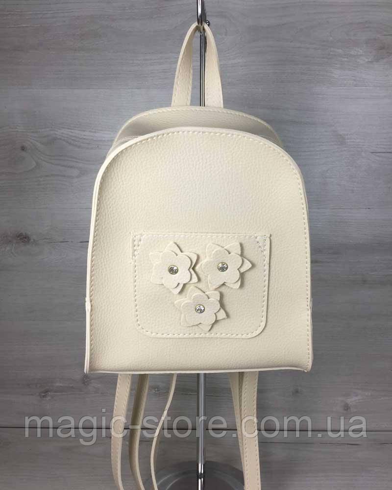 Молодежный рюкзак Цветы бежевого цвета