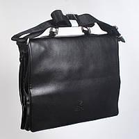 Мужская деловая кожанная сумка с ручками (портмоне) - Код 9805-6 - (черная)