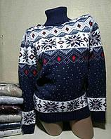 Свитер под горло с орнаментом/ снежинками женский (ПОШТУЧНО) В РАСЦВЕТКАХ