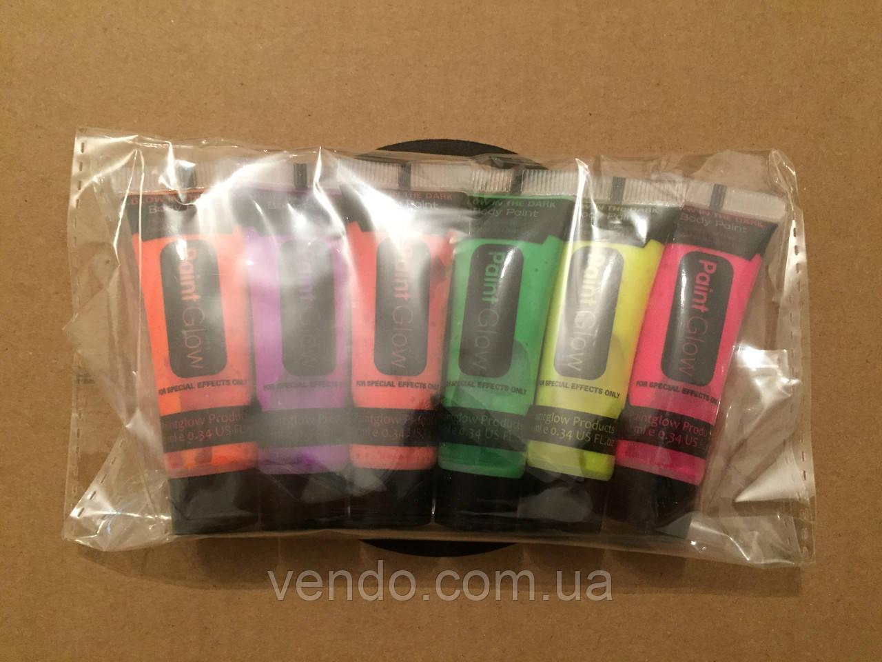 Набор красок для грима в тюбиках флуоресцентная 10 мл / 6 цветов.