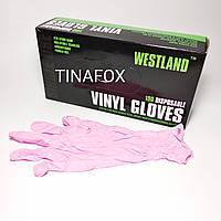 Перчатки для мастера нитриловые розовые, размер M