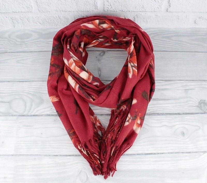 Кашемировый шарф, палантин бордовый Cashmere 7580-1