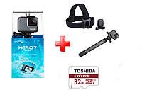 Набор: GoPro Hero 7 Silver + монопод GoPro El Grande + крепление на голову и на кепку + microSD Toshiba 32GB, фото 1