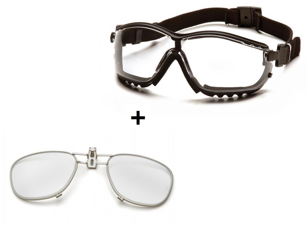 Баллистические очки с диоптрической вставкой Pyramex V2G прозрачные